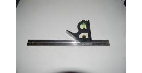 Линейка-угольник 300мм (12-) с уровнем однопузырьковым (передвигаемый угольник) HARDMAN AT13100